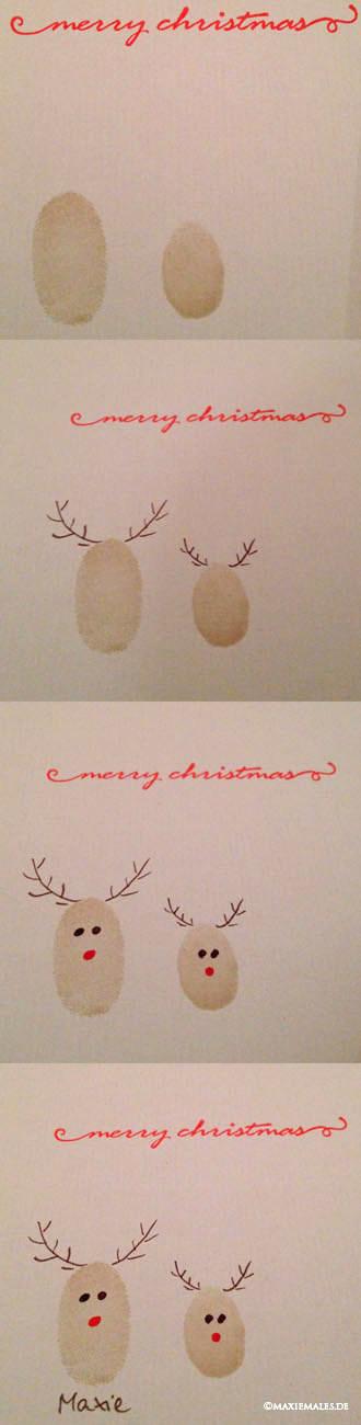 Weihnachtskarten Mit Fingerabdruck.Weihnachtliche Rentiergrüße Weihnachtskarte Fingerabdruck Diy